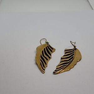 Vintage Laurel Burch gold leaf earrings